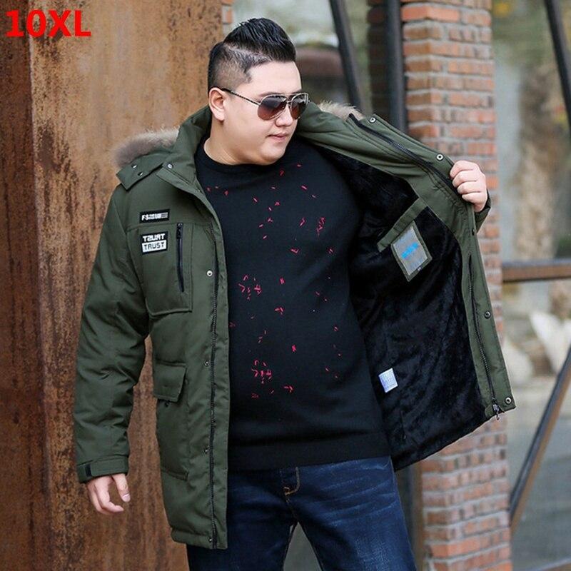 Inverno longa seção jaqueta de veludo 10xl jaqueta masculina para baixo plus size 10xl solto espessamento mais jaqueta de camurça masculina