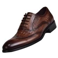 cross border new 2020 brock oxford mens retro retro leather shoes crocodile leather shoes large size men dress shoes 39 48