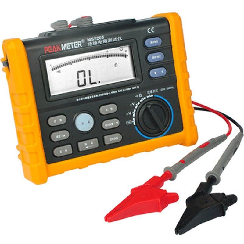 MS5203 PEAKMETE الرقمية جهاز اختبار مقاومة العزل العزل متر ميجا أوم متر هزة متر 50-1000 فولت أوم المتعدد
