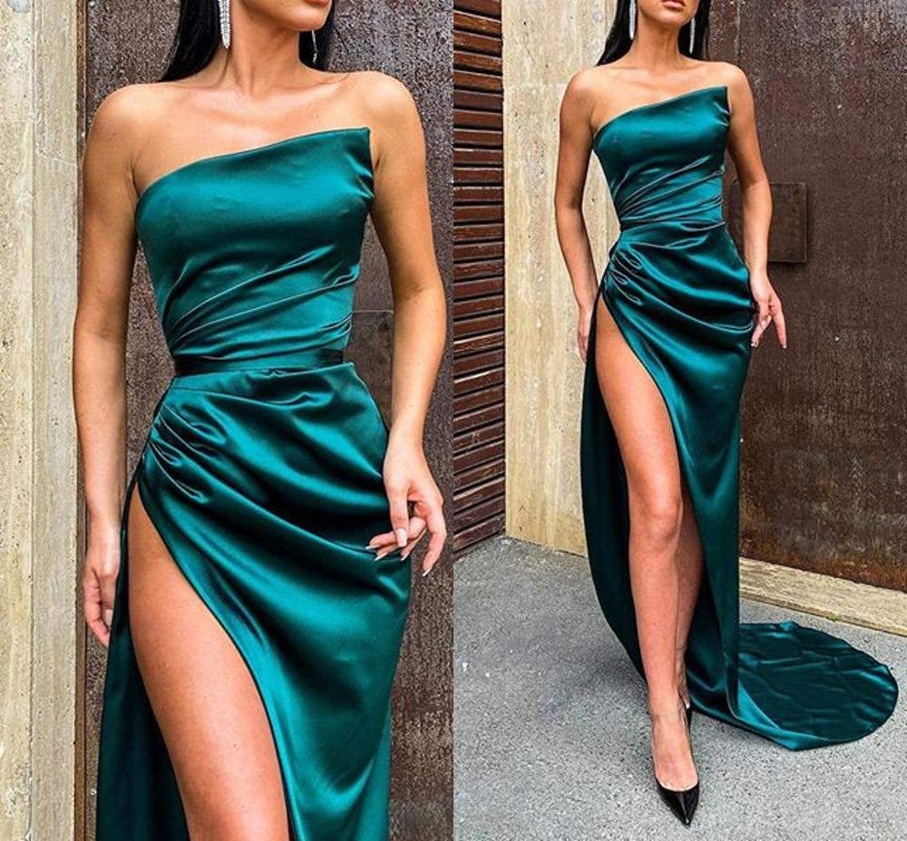 Elegant Strapless Long Evening Party Dresses 2020 Side Split Robe De Soiree вечерние платья Vestidos De Fiesta suknie wieczorowe