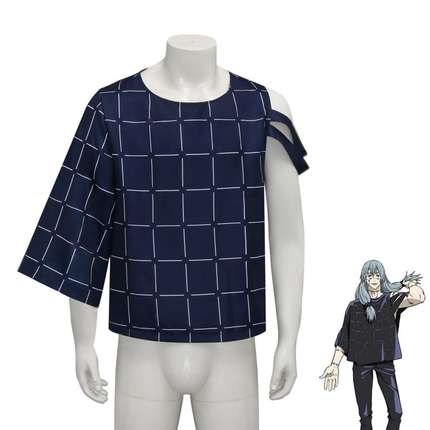 Takerlama Mahito-زي تنكري للرجال ، قمصان علوية فضفاضة للرجال ، تي شيرت أزرق ، ملابس أنيمي Jujutsu Kaisen ، ملابس حفلات الهالوين