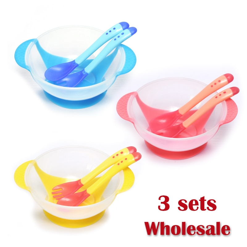 3set/wholesale Learning Dishes Plate Tray Suction Cup Baby Dinnerware Temperature Feeding Spoon Child Tableware Food Bowl
