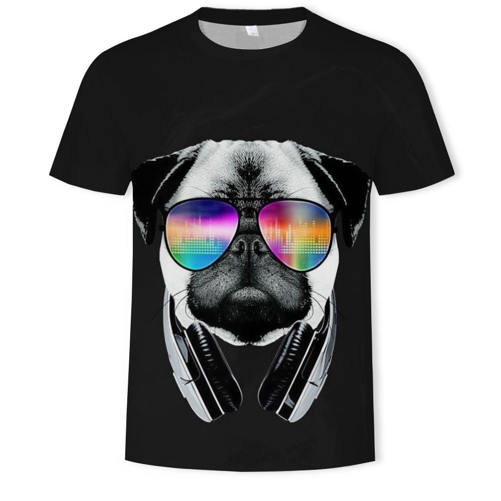 Creative dog with sunglasses 3D printing men's and women's T-shirt oversized T-shirt trend O-neck sh