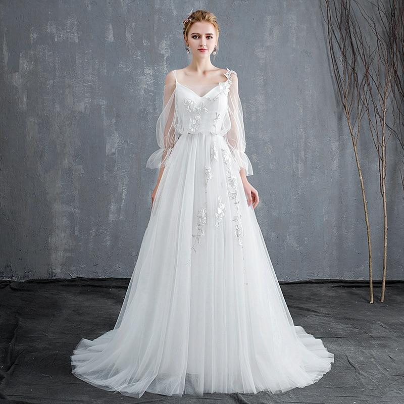 Promo luxury quality fashion V-neck seven sleeve white long skirt elegant sexy backless big swing high-grade white wedding dress