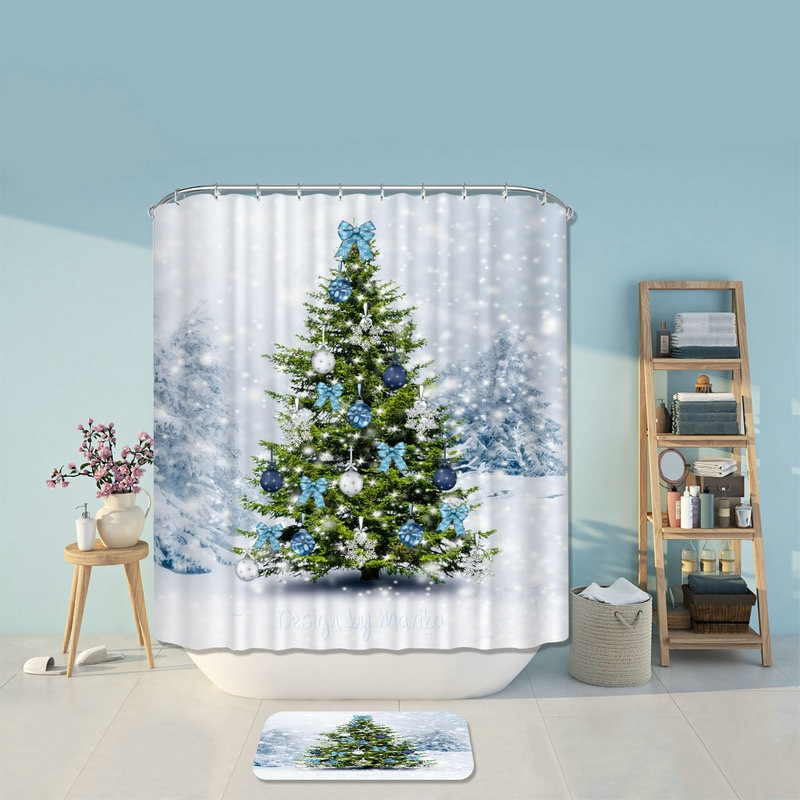 Merry Christmas Trees Santa Claus  Shower Curtains Bathroom Curtain Bath Products Bathroom Decor with Hooks Waterproof
