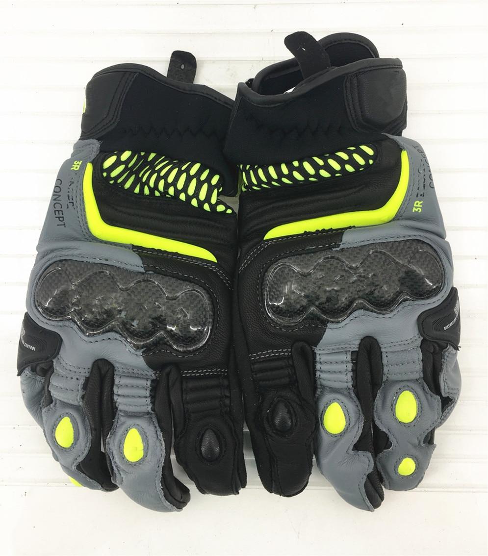 جديد 3 ألوان 100% جلد طبيعي الكربون 3 قفازات للدراجات النارية سباق الدراجات النارية قفازات شاشة لمس جلد البقر قفازات سباق الدراجات البخارية
