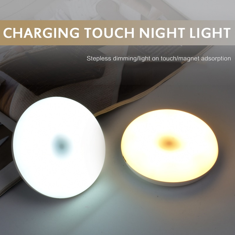 portatil mini led toque luz da noite usb de carregamento lampada cabeceira