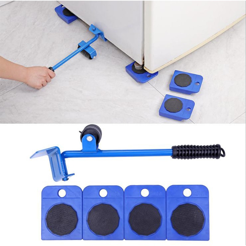Sistema de movimiento de ruedas Universal para muebles, herramienta móvil de peso para el hogar con manejo de plástico, combinación Manual de cinco piezas, triangulación de envíos