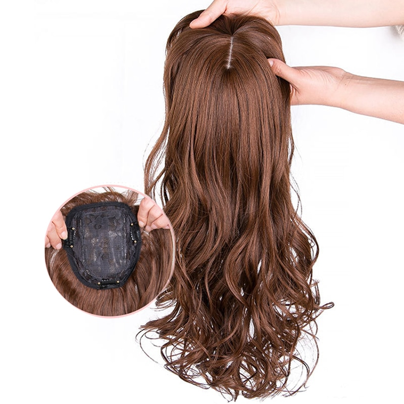 AliExpress - Natural Wave Women Synthetic Hair Light Brown One-piece Hair Extension with Bangs High Temperature Fiber Clip-in Hairpieces