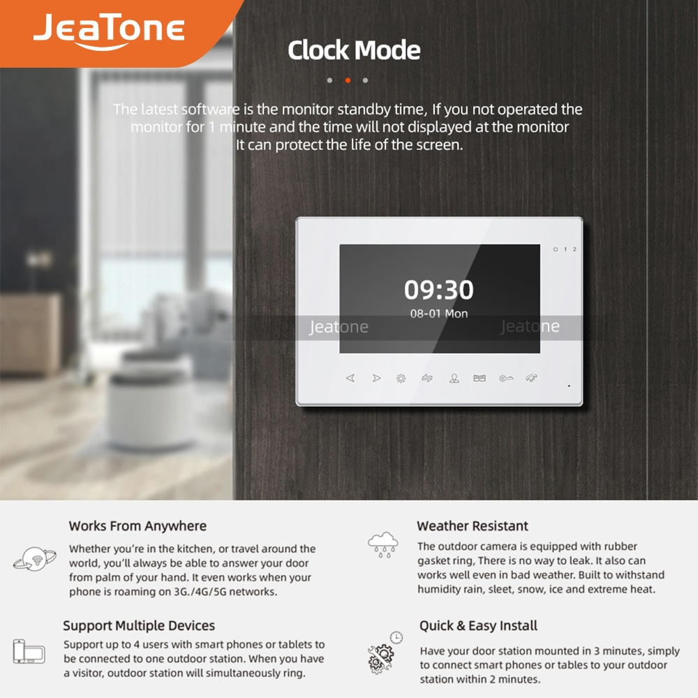 JeaTone 7'' Wifi Tuya Video Door Phone Intercom for home with Multi-language+Remote APP Control+Motion Detection + Double unlock enlarge