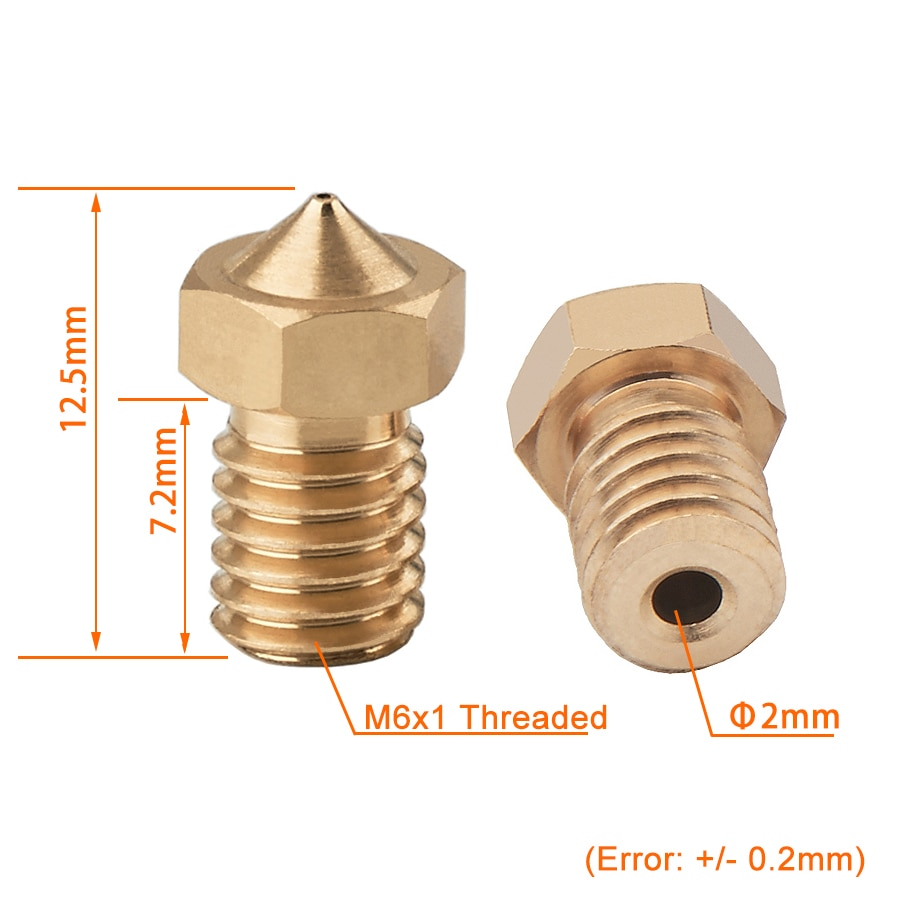 5 10pcs M6 Threaded Nozzle Full Metal 0 2 0 3 0 4 0 5 0 6mm Optional For 1 75 3 0mm Filament V5 V6 Hotend Extruder 3d Printer Hotend Extruder Nozzle 0 2mmfor 3d Printer Aliexpress