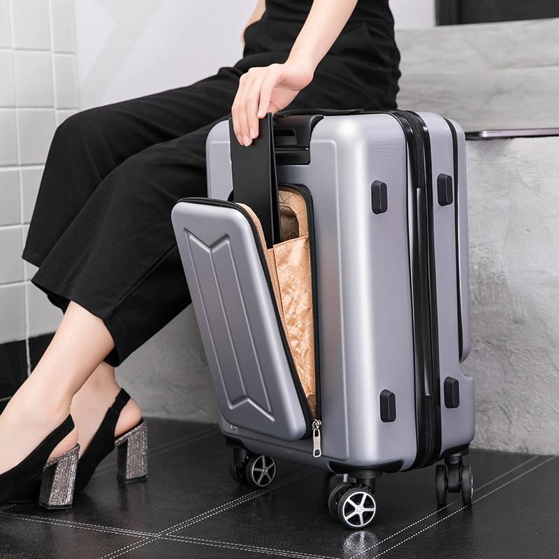 чехол на чемодан 18316 s 55 см Женский Дорожный чемодан на колесиках, чехол для ноутбука с сумкой для мужчин и женщин, универсальный чемодан на колесиках, чемодан на колес...