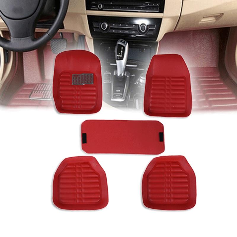 5Pcs/set Red PU Leather car Floor Mats Universal Auto Floor Liner Leather Carpets Waterproof anti-slip Interior Decor Accessory