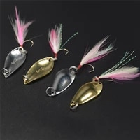 3pcs fishing hook tied hair single hook 2 53 55g spoon lure classic spoon shaped lure makou a squat mouth sequin fishing bait
