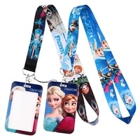 lt1074 frozen neck strap lanyards keychain badge holder id card pass hang rope lariat lanyard for key rings kids accessories