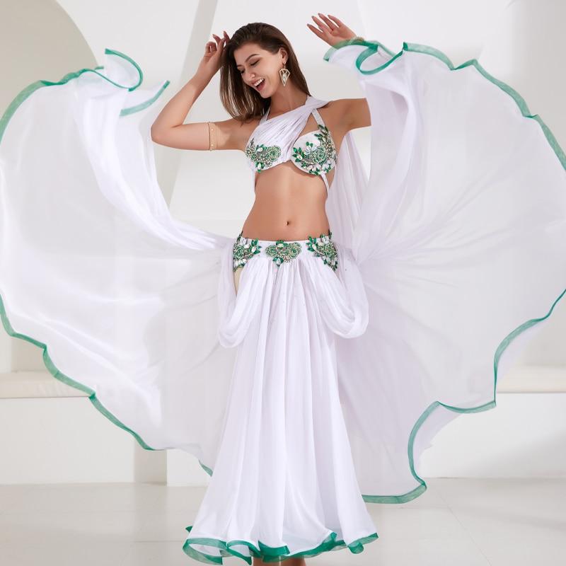 جديد إمرأة رقص مسابقة زي 3 قطعة مجموعة رقص أداء شرقي عرض ارتداء بلينغ بلينغ ماكس الخارجي لوحة أحمر أبيض