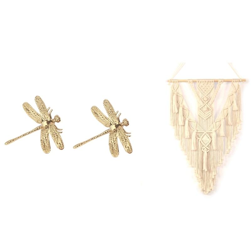 2 قطعة اليعسوب أثاث نحاسي مقابض أنيقة المقابض الباب و 1 قطعة الجدار الشنق مكرامية نسيج