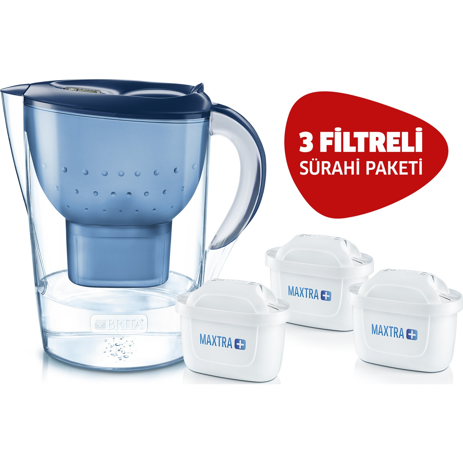 BRITA Blue Marella XL 3 Filtered Water Purifying Pitcher Pack Smart Pitcher Clean Comfortable Drinking Alkaline Filtered Pot