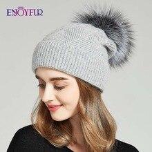ENJOYFUR sombreros de invierno para las mujeres de piel Natural Gorro con pompón caliente lana gorros holgados para mujeres pequeños cráneos a la moda sombreros para dama