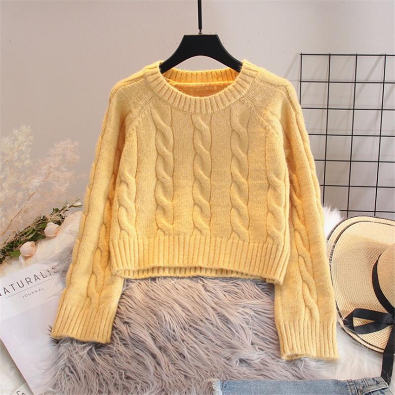 Осень-зима 2020, однотонные женские вязаные короткие свитера, корейские пуловеры с длинным рукавом, женские теплые джемперы с круглым вырезом...