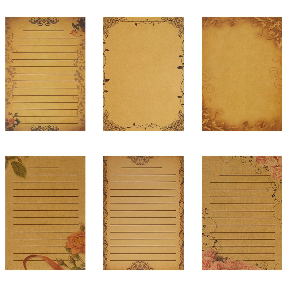6 Sets 21x14.5xcm Kraft Writing Paper Retro Rose Lace Writing Paper Vintage Letter Stationery Creative Note Paper