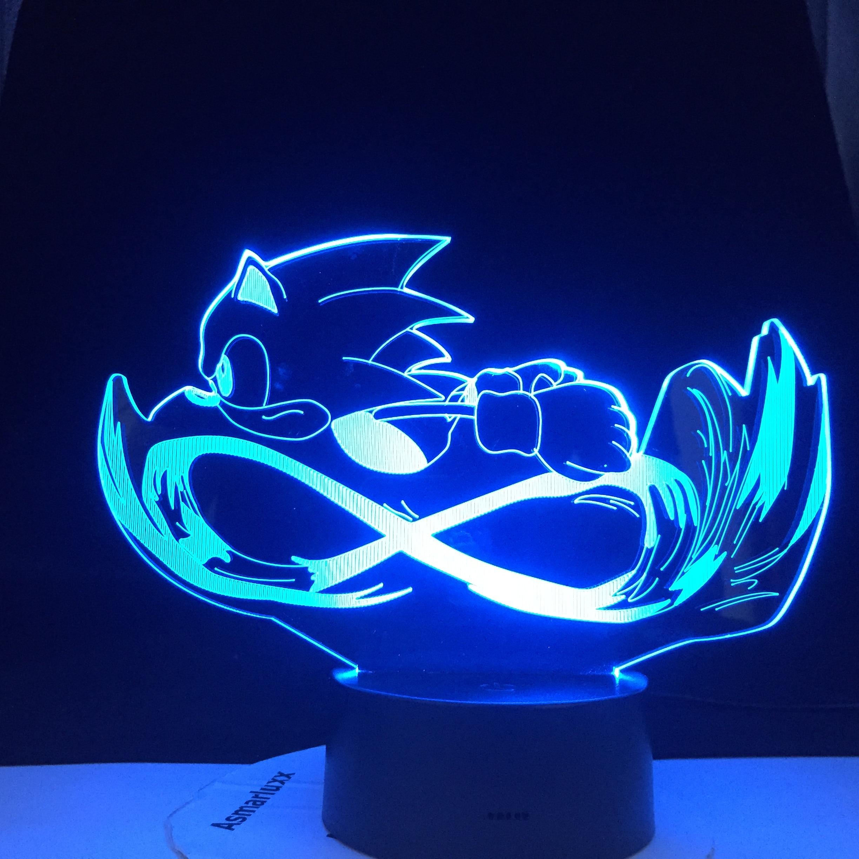 Lámpara de Mesa táctil de dibujos animados 3D Sonic para correr, luces...