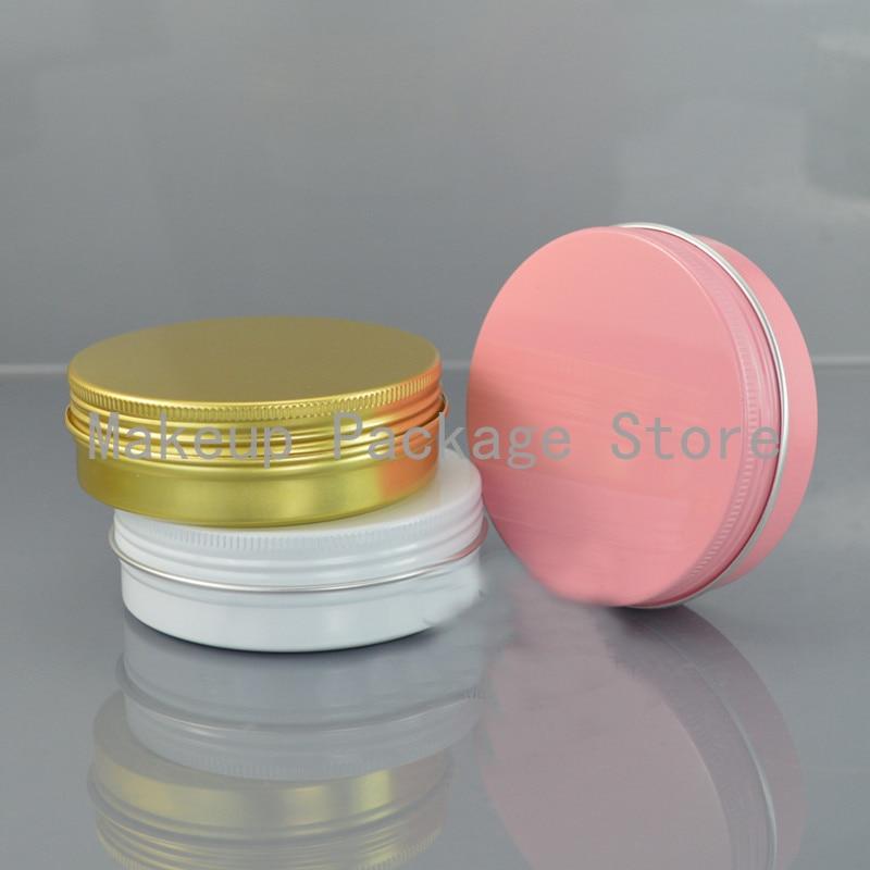 100g ML recarregáveis caixa rosa/branco/ouro garrafa vazia de alumínio rodada latas de metal de estanho 83*28 caixa de creme cosmético jar DIY Panela De Alumínio