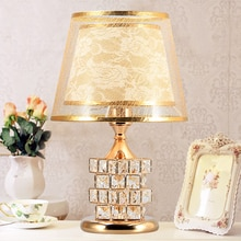 European Luxury Crystal Table Lamp Bedroom LED Desk Lamps Golden Bedside Night Light Home Decoration Lighting YHJ011407