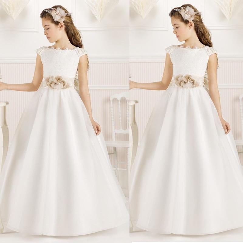 Scoop Flower Girl Dresses for Wedding Sleeveless Floor-Length Cap Sleeves Satin First Communion Dresses for girls
