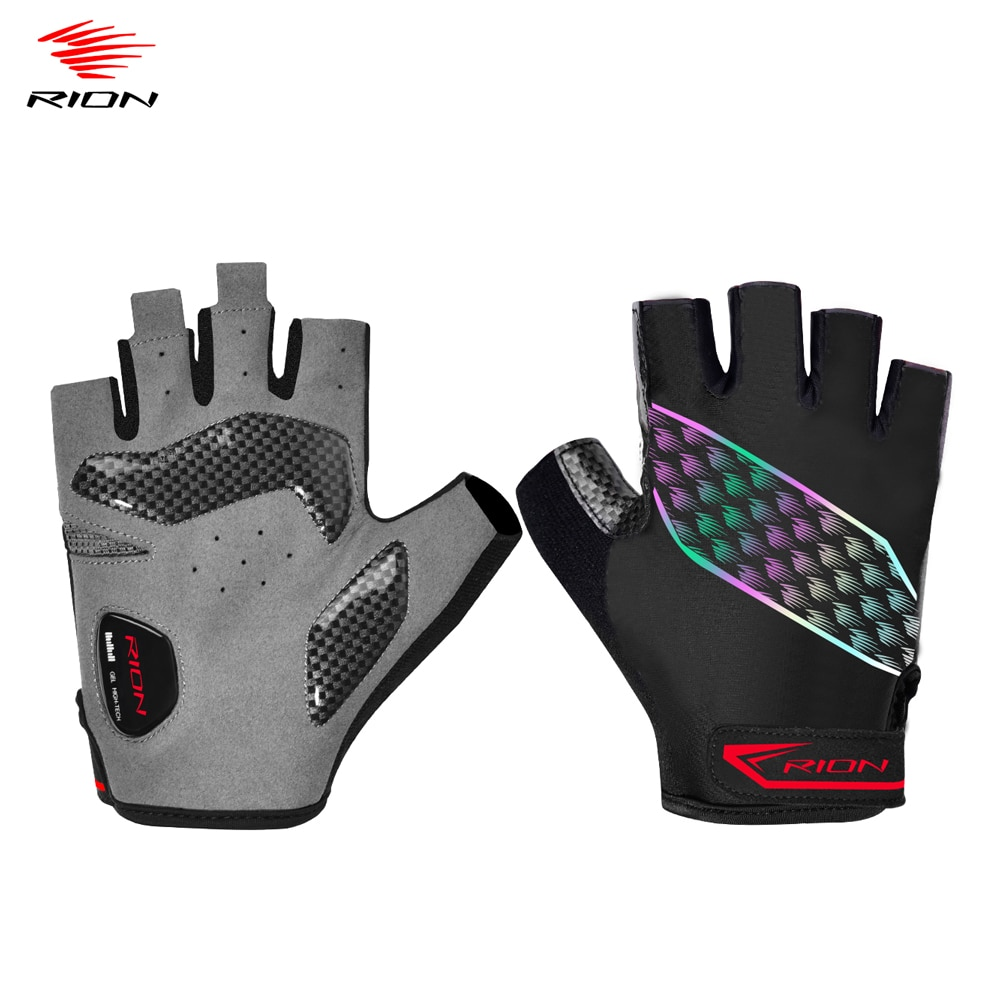 RION New Cycling Anti-slip Anti-sweat Men Half Finger Gloves Breathable Shockproof Sports Gloves Bik