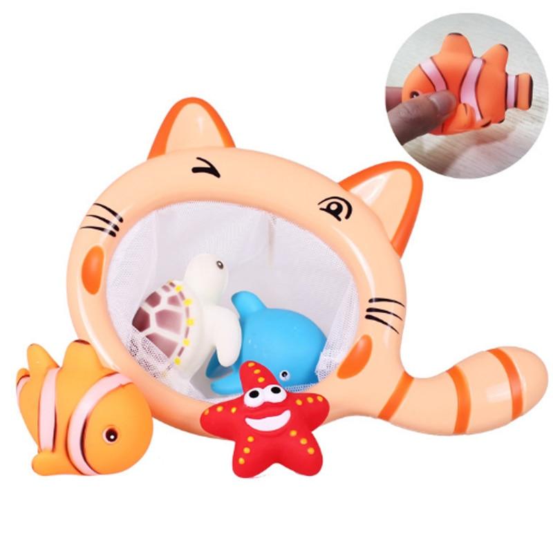 Juguetes de baño de pesca bolsa de red 5 unids/set recoger tortuga estrella de mar juguete para niños natación de verano juguete de baño de agua juguetes educativos