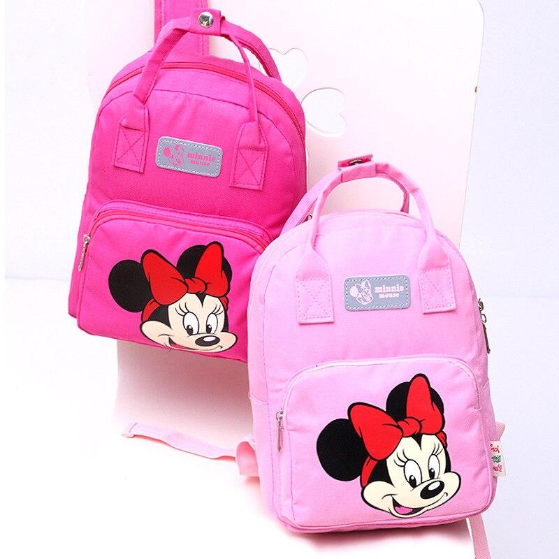 Bolsa Escolar de Disney con Mickey mouse para niños, bolso de dibujo animado para guardería, bolsa para libros, bolso de hombro de minnie, mochila para bebé