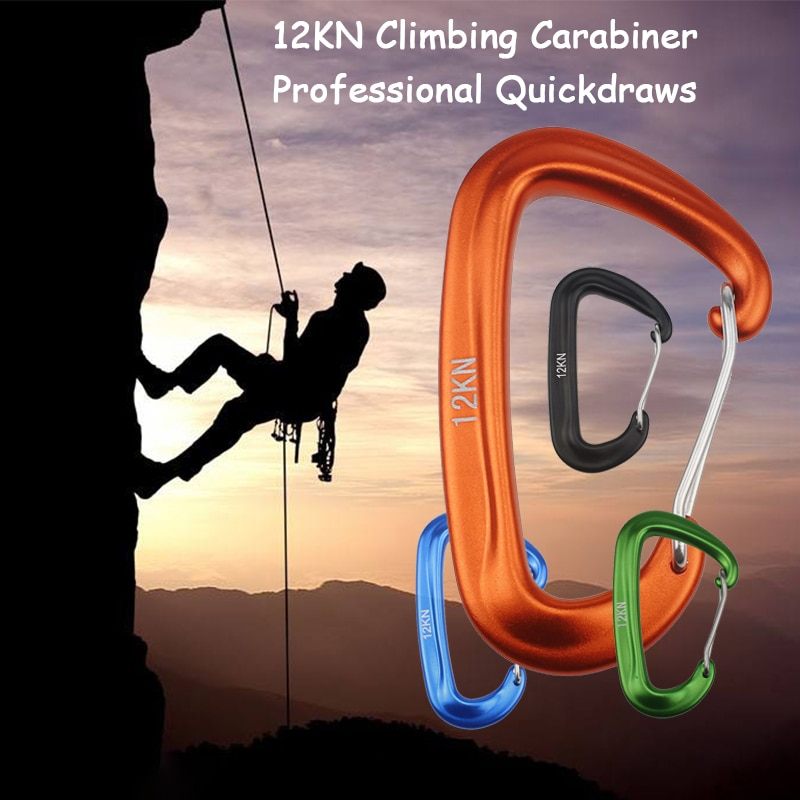 12KN Professional Climbing Carabiner D Shape Mountaineering Buckle Hook Safety Lock Outdoor Equipment Accessory
