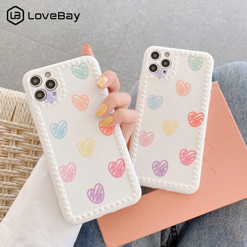 Lovebay, funda de teléfono con corazones y flores para iPhone 11 Pro X XR XS Max 8 7 Plus SE 2020, protección a prueba de golpes, funda trasera blanda IMD