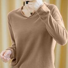 Smpevrg 19 100% coton tricoté pull femme pulls col en v à manches longues femmes pull femme en vrac mode pull pull femme