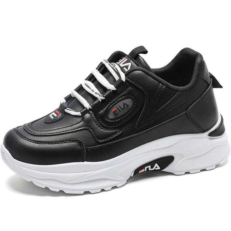 Zapatillas de deporte de suela gruesa de cuero para Mujer, zapatos deportivos...