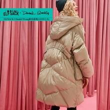 ELFSACK White duck down 90% Oversized Hooded Warmness Long Down Jacket Coat Women 2019 Winter Drawstring waist Ladies Outwear