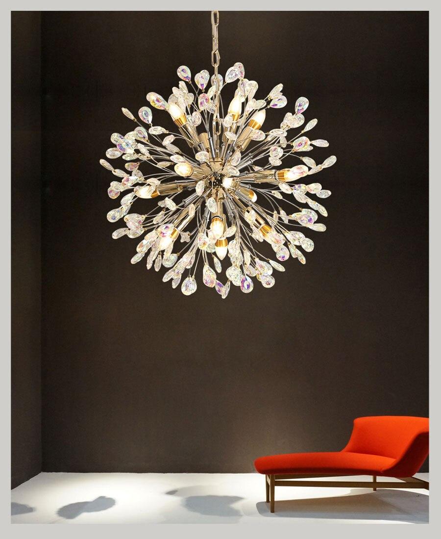Candelabro de cristal de diente de león iluminación lustres de lujo lámpara...