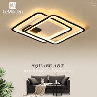 LeMorden Rectangle Led ceiling lights for living room bedroom AC85-265V Black Metal Acrylic Ceiling Lamp Fixtures 2020 NEW