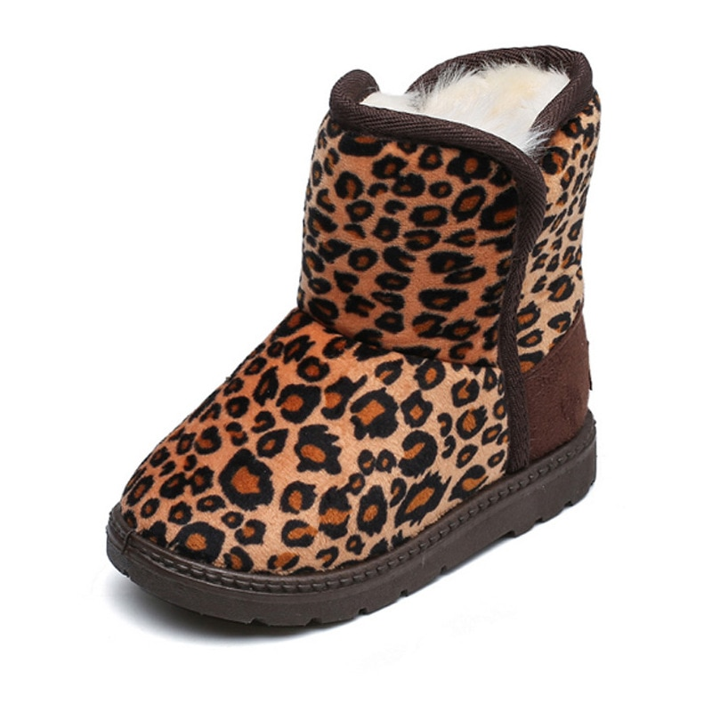 Hot Fashion Boots Children Kids Baby Girls Boys Leopard Winter Warm Short Casual Shoes Childrens Drop Shipping