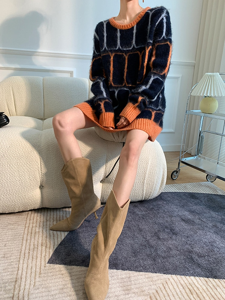 Womens Loose Fit Pullovers Sweater Long-Sleeve Crew Neck Office Lady Contrast Color Pullover Tops enlarge