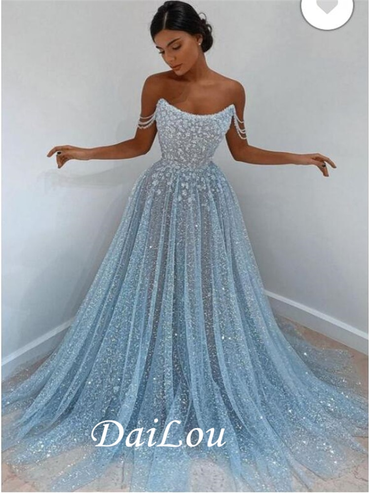 DaiLou A Line Off The Shoulder Sweetheart Mermaid Elegant Sleeveless Blue Lace Prom Dress 2021