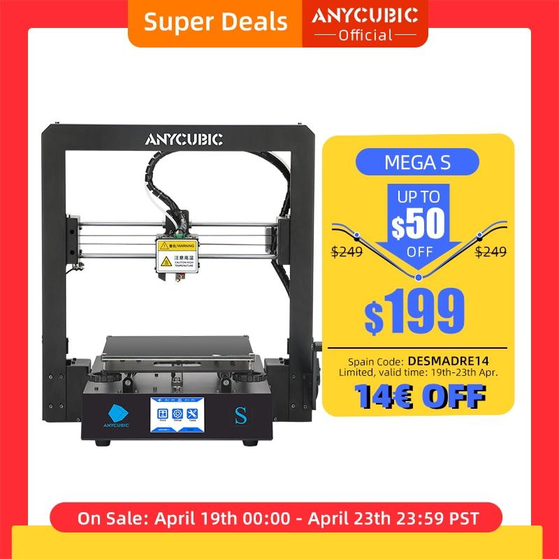 AliExpress - ANYCUBIC Mega-S Mega S 3D Printer I3 Mega Upgrade Large Size TPU High Precision Touch Screen DIY 3D Printer kit impressora 3d