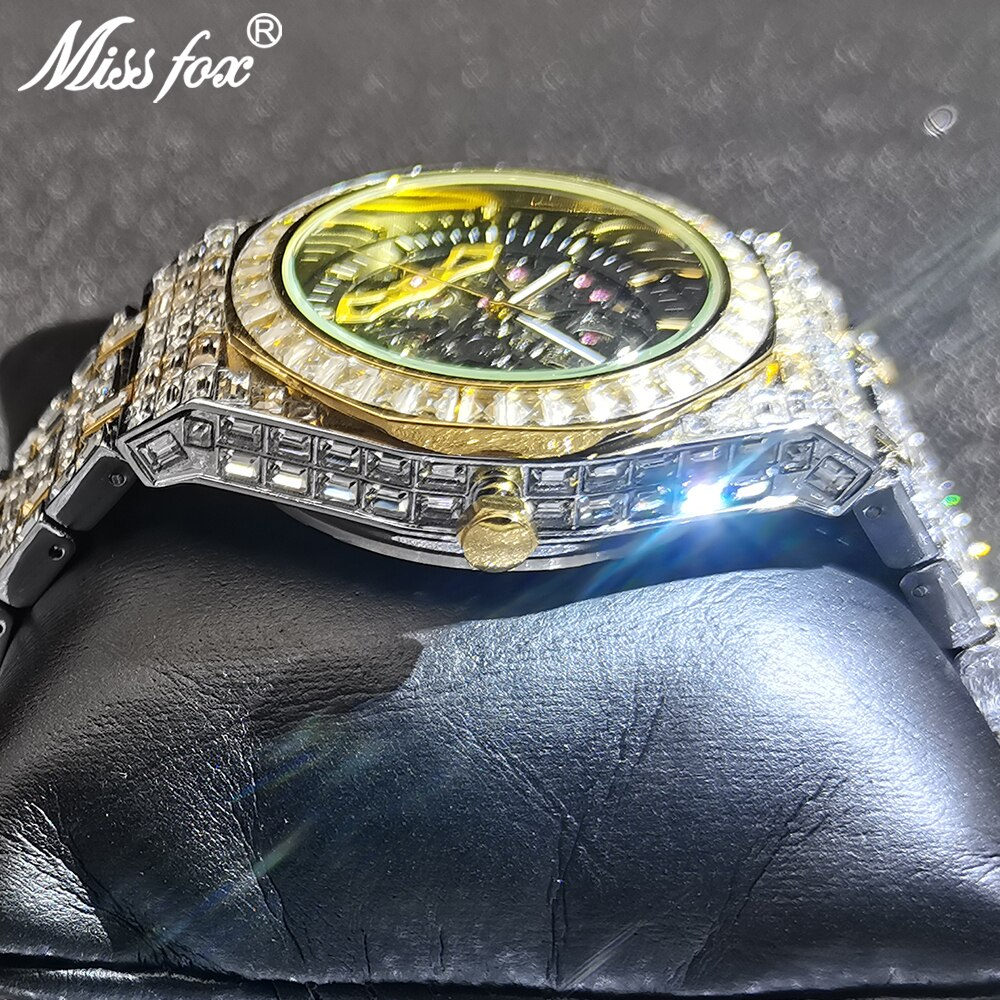 Hip Hop MISSFOX Hollow Mens Watches Automatic Mechanical Iced Out Square AAA Diamond Male High-end Bling Luxury Business Clocks enlarge