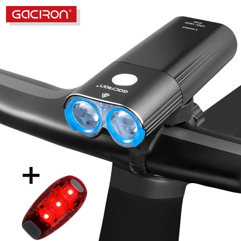 Gaciron bicicleta luz bicicleta faro IPX6 USB linterna Flash LED de la lámpara frontal V9C-400 V9F-600 V9C-800 V9S-1000 V9D-1600 V9D-1800