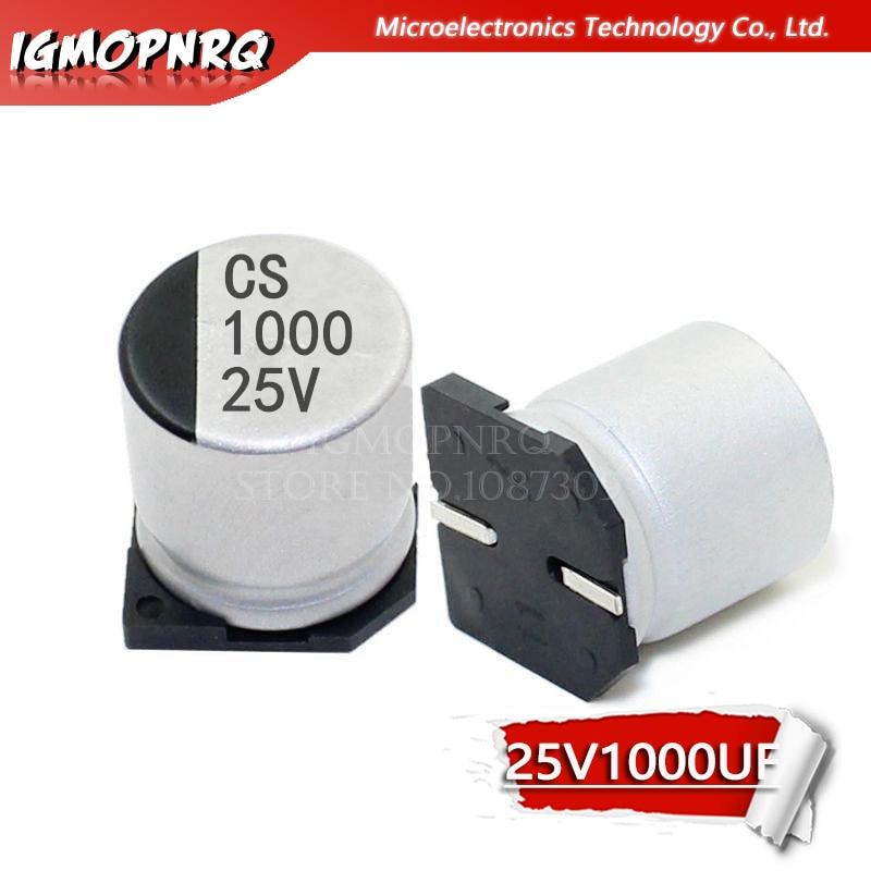 10PCS Electrolytic capacitor 25V1000UF 12*13mm SMD aluminum electrolytic capacitor 1000uf 25v