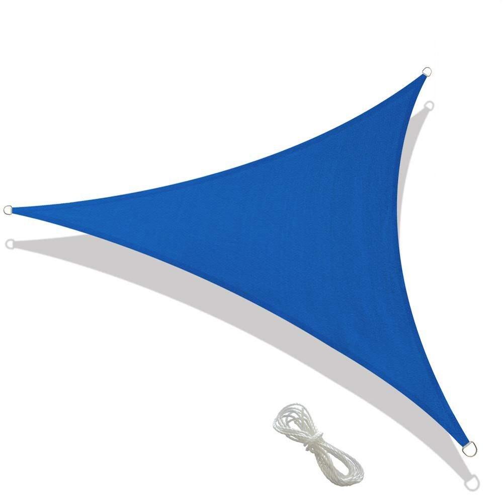 Azul impermeable Durable tela triángulo sombra vela para jardín al aire libre