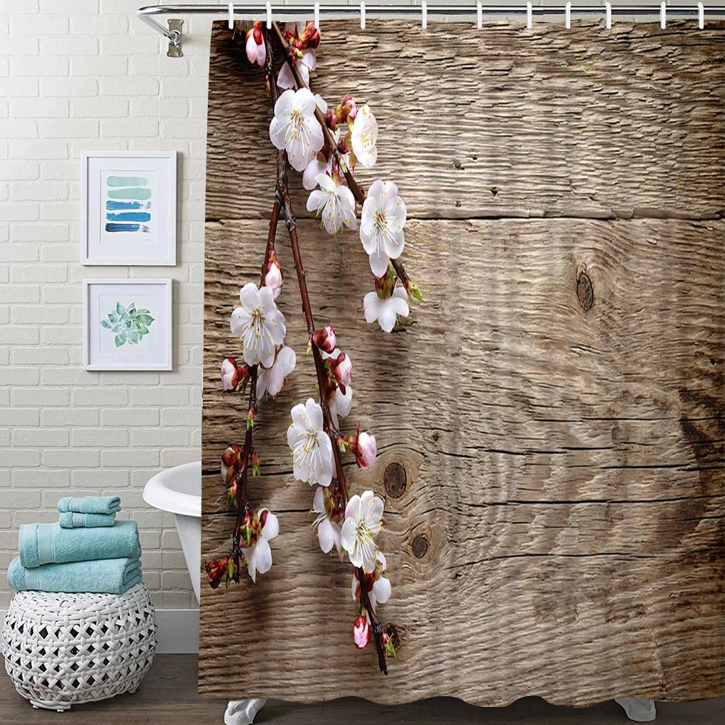 Spring Blossom Wood Shower Curtain Wood Flower Bathroom Shower Curtain With Hook Petal Plank Waterproof Bathroom Shower Curtain ocean waves printed shower curtain for bathroom waterproof shower curtain with hook polyester bathroom shower curtain home decor