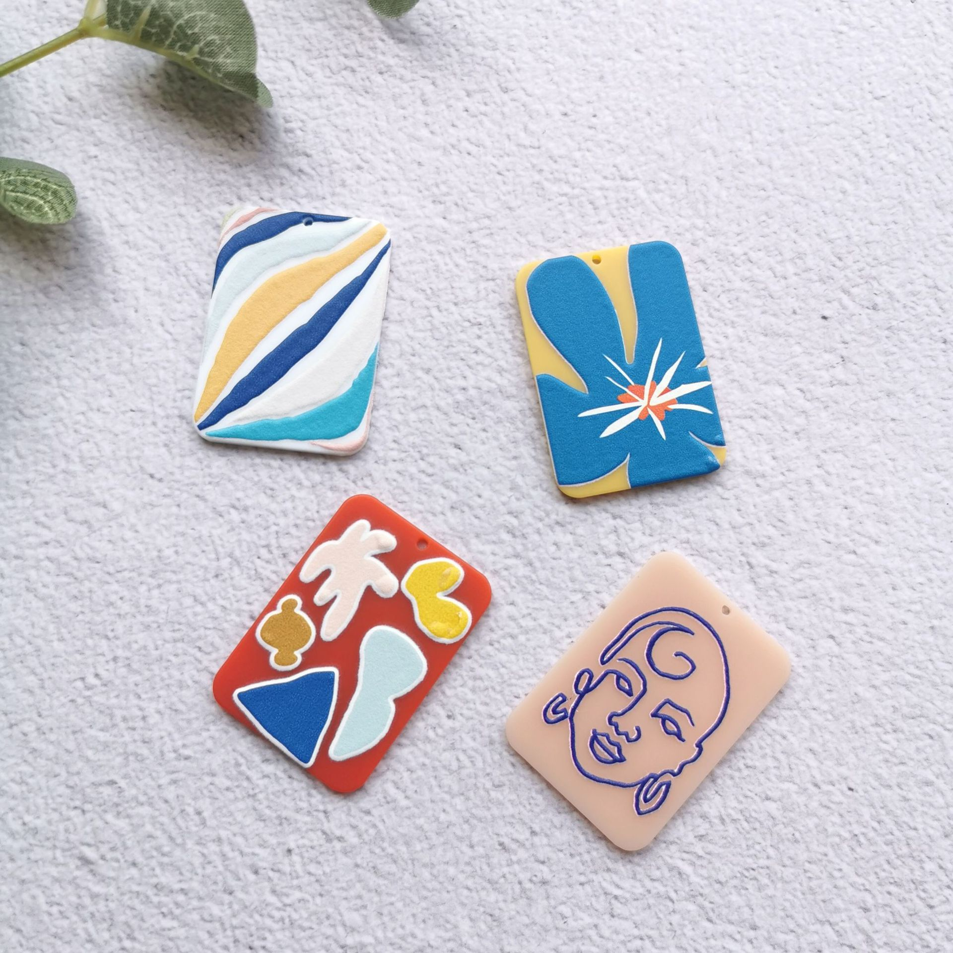 50PCS Flowers Painting Impressionism Jewelry Accessories Earrings Connectors DIY Pendant Jewelry Findings Components Charms