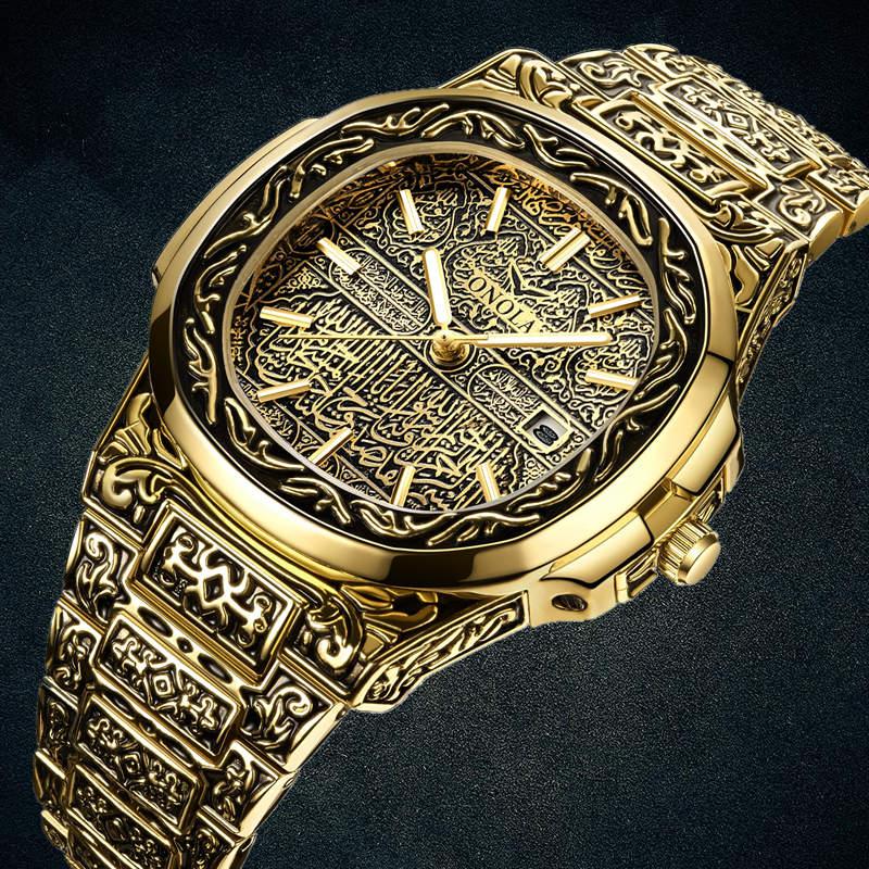 Fashion quartz watch men Brand ONOLA luxury Retro golden stainless steel watch men gold mens watch reloj hombre